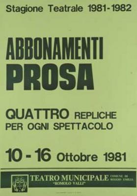 Abbonamenti prosa. Stagione teatrale 1981-82