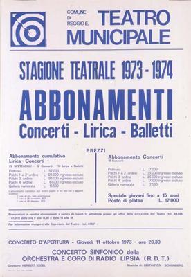 Abbonamenti Concerti Lirica Balletti.  Stagione Teatrale 1973/1974