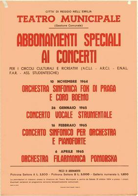 Abbonamenti Speciali ai Concerti per i circoli culturali e ricreativi
